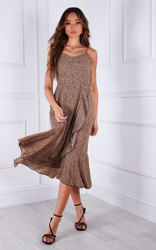 Rumi Ruffle Hem Printed Midi Dress