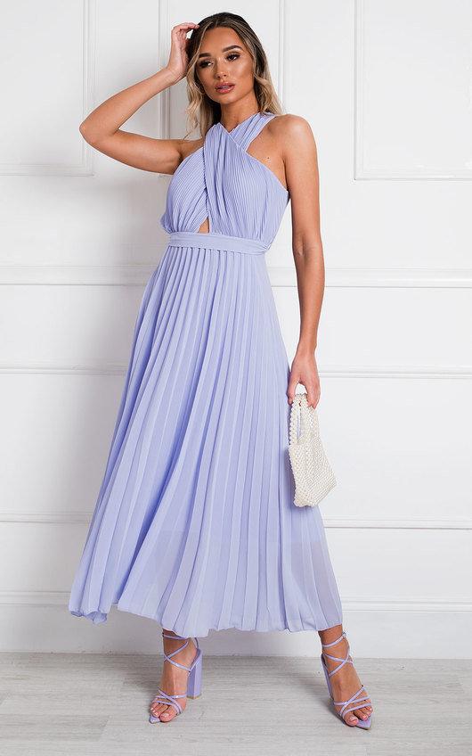 Ryanna Pleated Crossover Maxi Dress