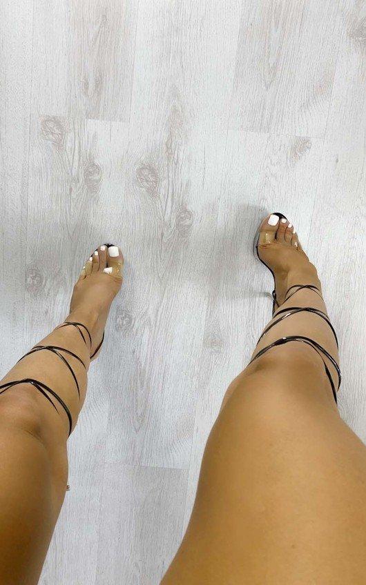 Sabrina Perspex Platform Lace Up Heels