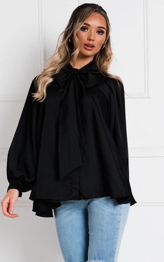 Sabrina Satin Tie Neck Shirt Top