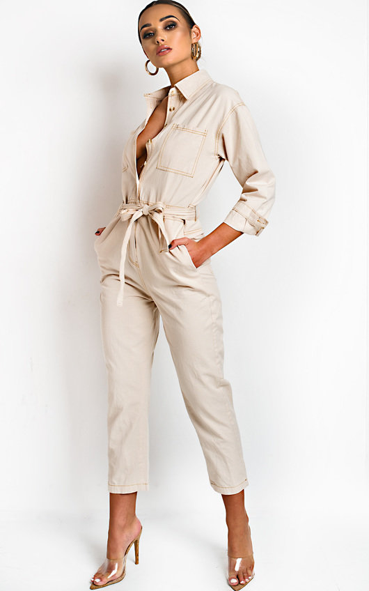 rational construction buying cheap half price Sage Tie Waist Button Up Utility Jumpsuit