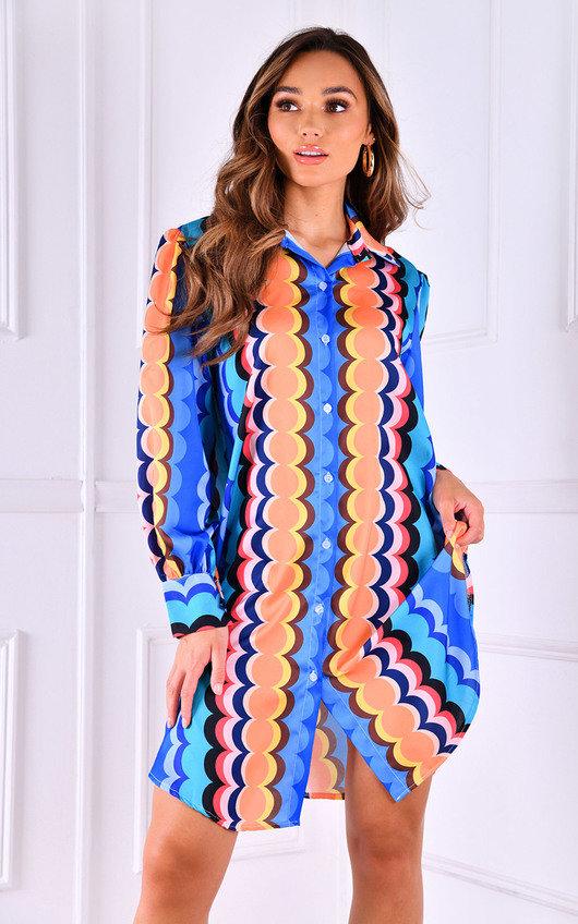 Saint Printed Button Up Oversized Shirt Dress