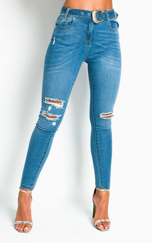 Sally Distressed Western Buckle Jeans
