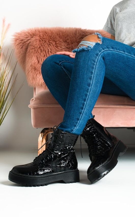 Sally Lace Up Croc Print Biker Boots