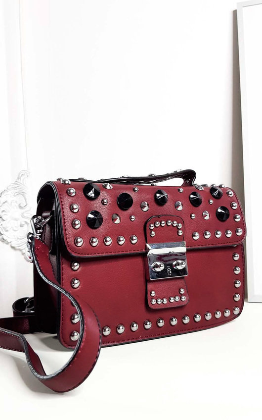 Sammy Faux Leather Studded Shoulder Bag
