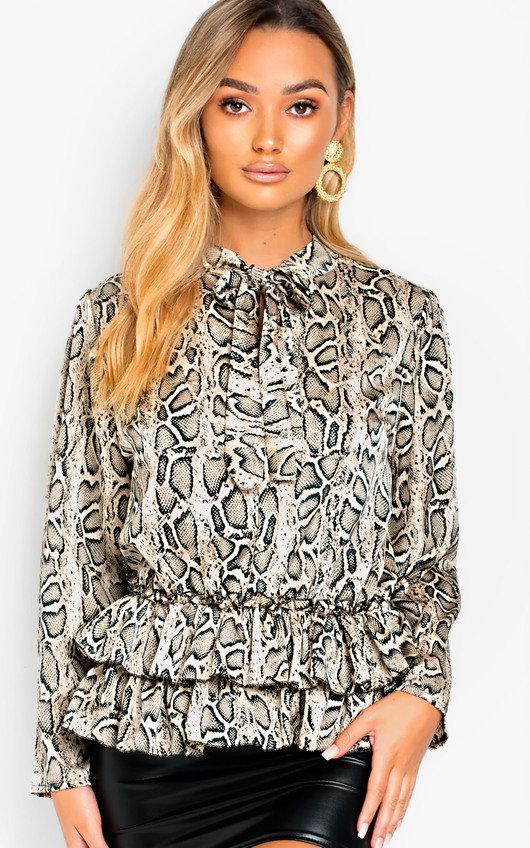 Sandi Tie Neck Frill Hem Print Blouse Shirt