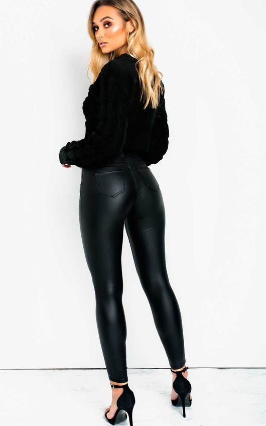 Sandie Leather Look High Waisted Skinny Jeans