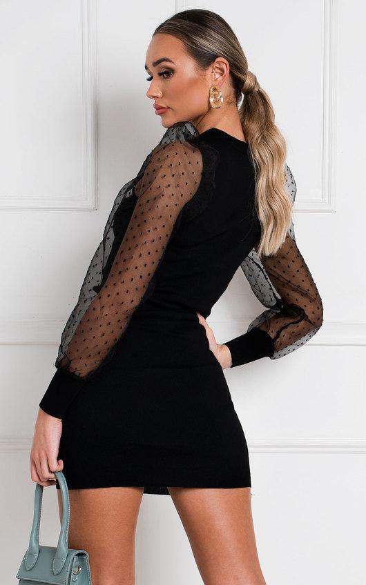 Sandie Polka Dot Sheer Sleeve Jumper Dress