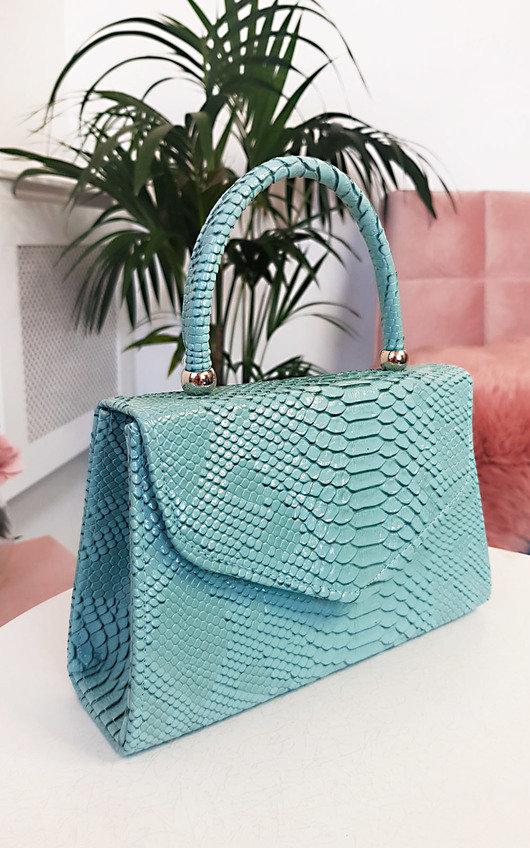 Sandy Croc Print Handbag