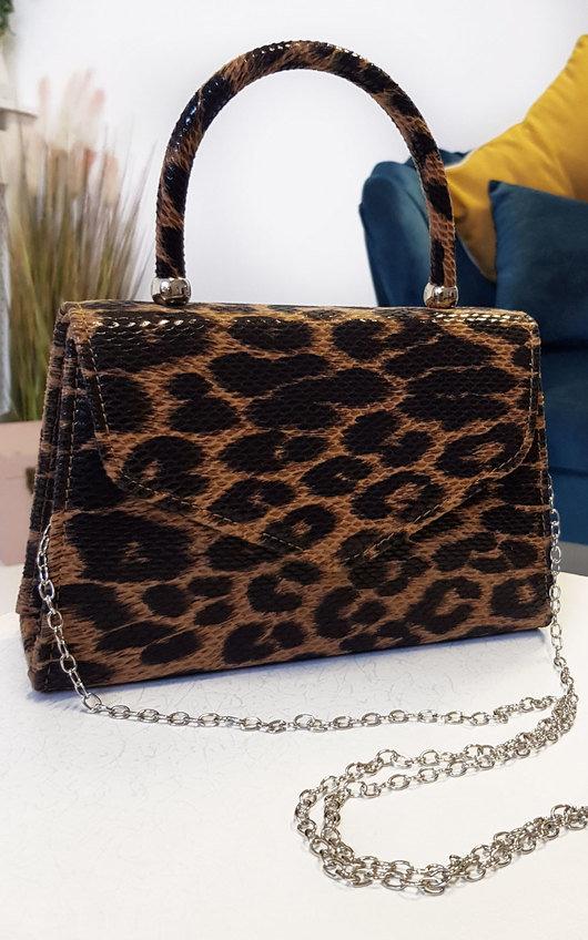 Sandy Leopard Print Handbag