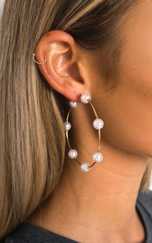 Sandy Pearl Hoop Earrings