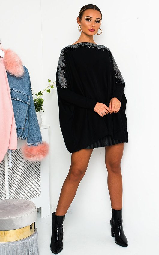 Sapphire Batwing Sleeve Oversized Jumper