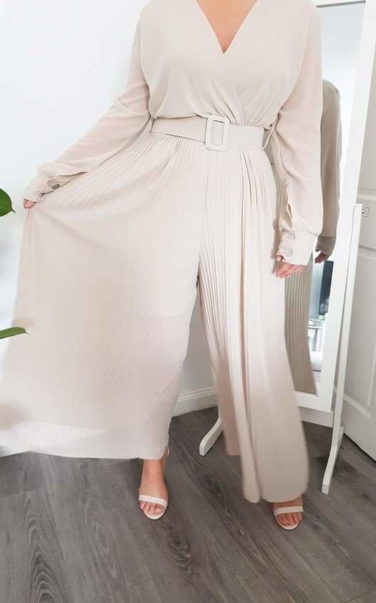 Sara Belted Pleated Jumpsuit