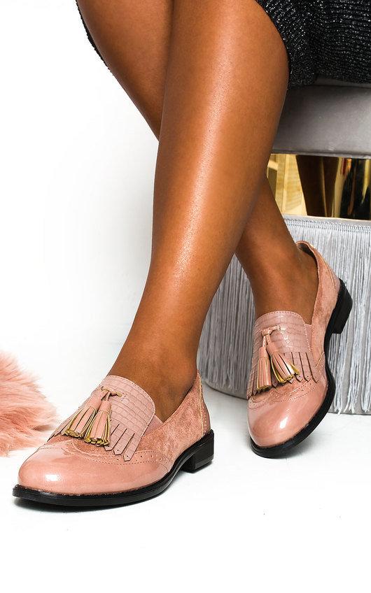 Sara Faux Leather Tassel Brogue Flats