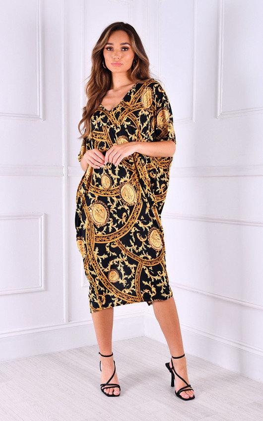 Sara Printed Oversized V Neck Midi Dress