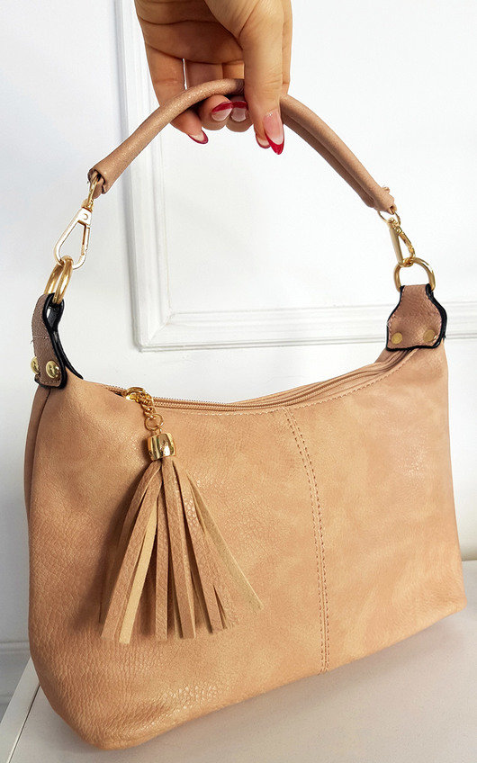 Sarah Faux Leather Shoulder Bag with Tassel Zip and Removable Strap