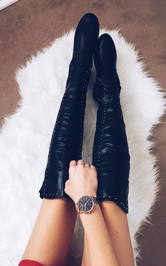 Sarah Studded Knee High Boots