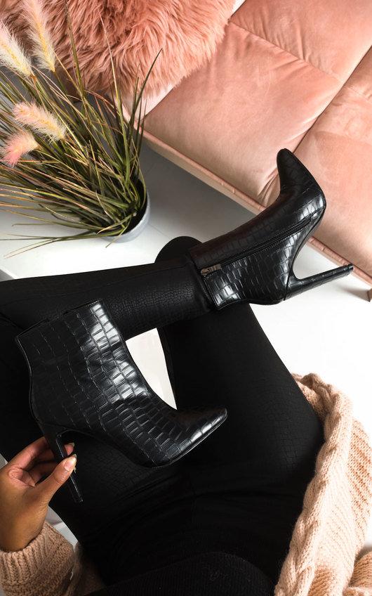 Sasha Croc Print Heeled Ankle Boots