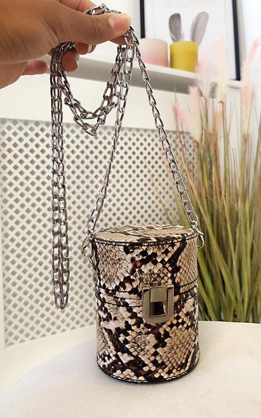 Sasha Mini Cylinder Croc Print Clutch Bag