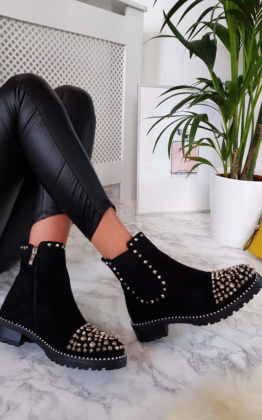 24094c4b752a6 Sasha Studded Ankle Boots in Black s | ikrush