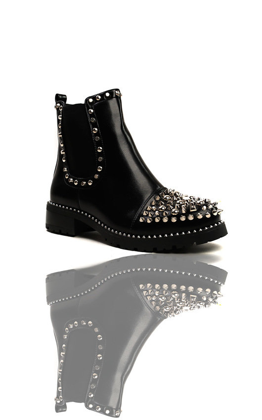 7e470791121fd Sasha Studded Ankle Boots in Black | ikrush