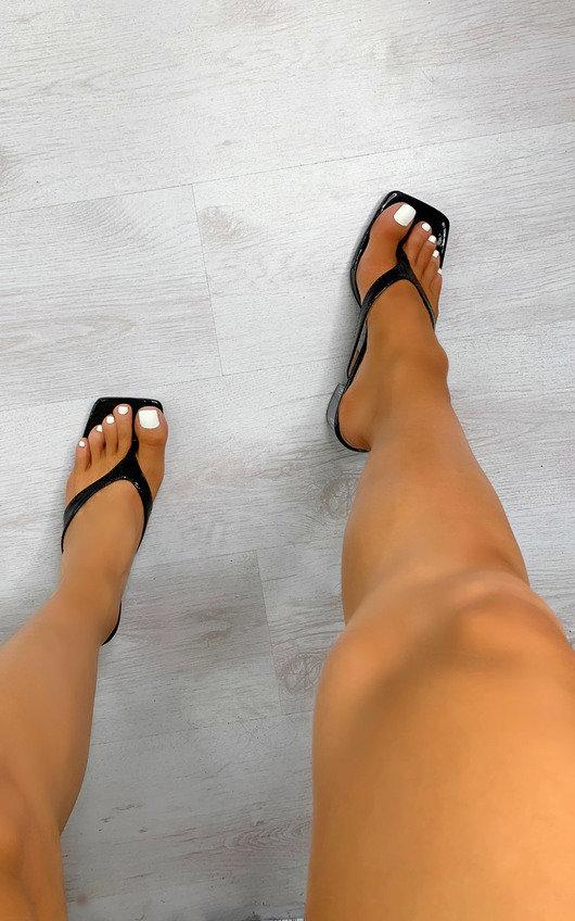 Sasha Toe Thong Mule Heels