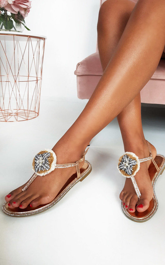 Saskia Jewelled T-Bar Sandals