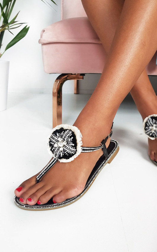 Saskia Jewelled T-Bar Sandals