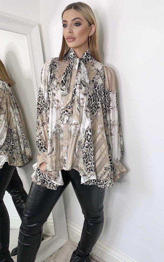 Saskia Tie Front Multi Print Blouse