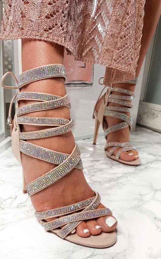 Scarlett Lace Up Diamante Peep Toe Heels