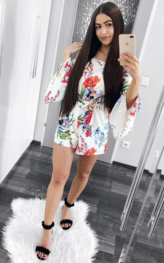 Selene Floral Off Shoulder Tie Playsuit