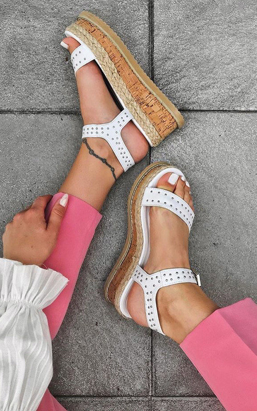 Seline Braided Studded Wedges