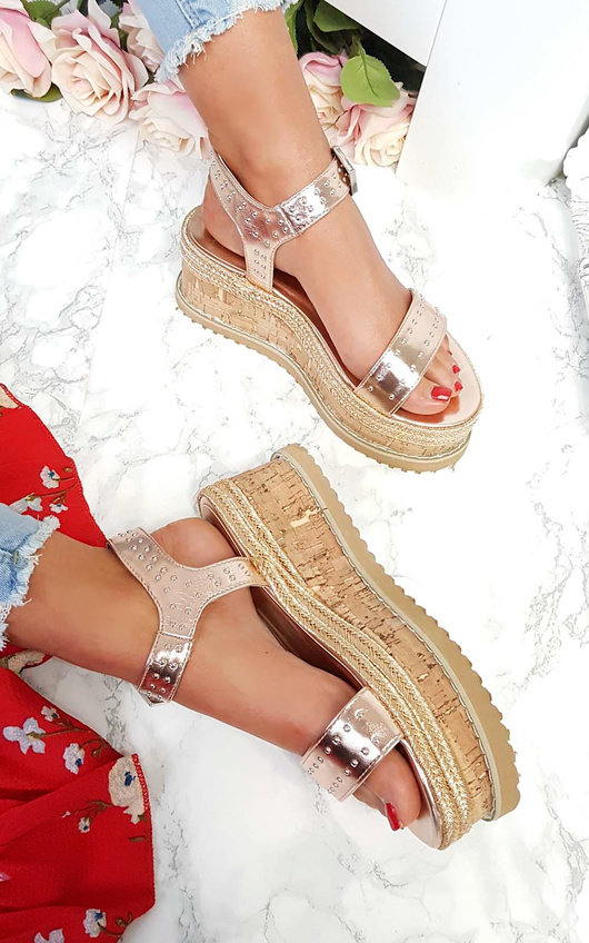 Seline Braided Studded Wedge Sandals