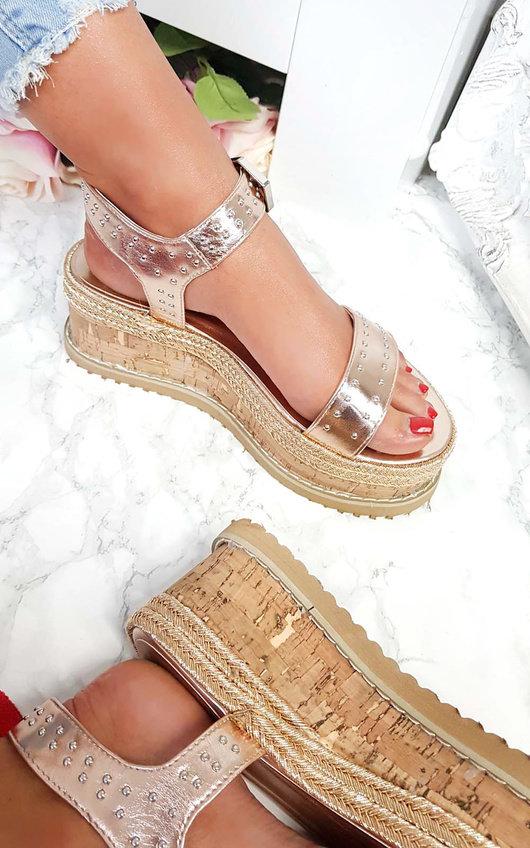 Seline Braided Studded Wedge Sandals