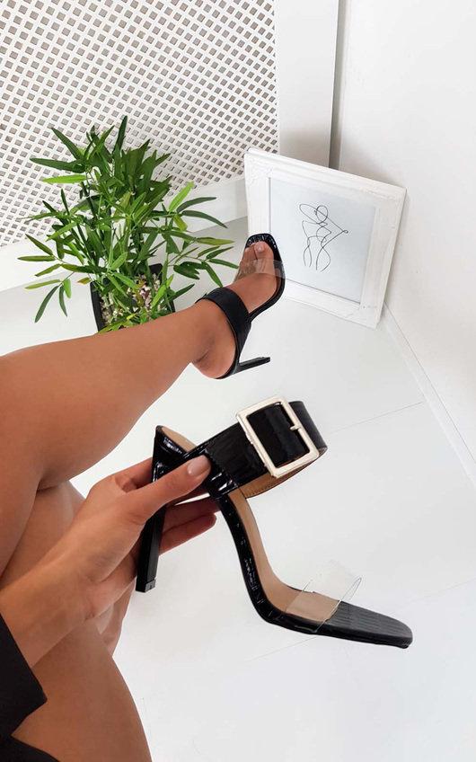 Serena Croc Printed Buckle Heels