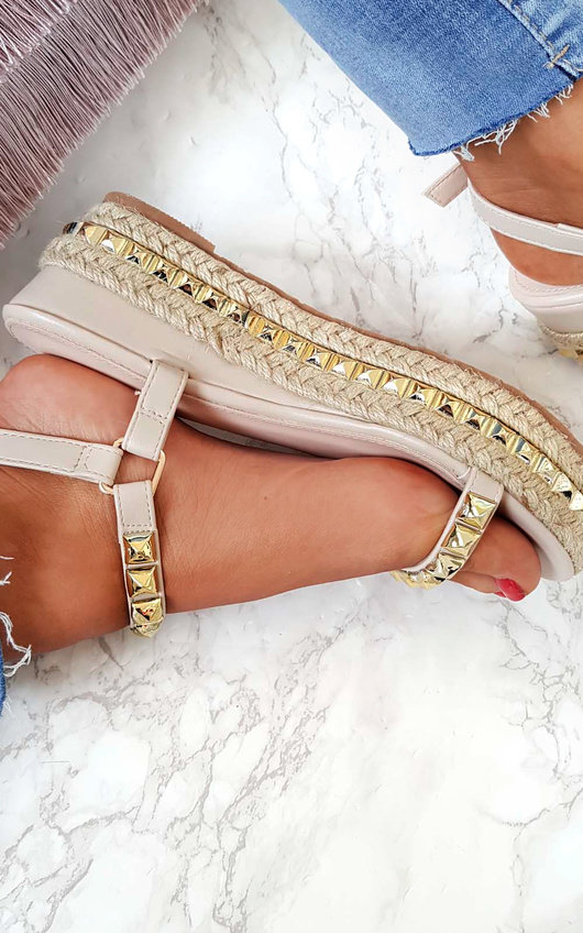 Seritta Studded Strap Wedge Sandals