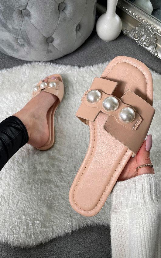 Shameela Pearl Sandals in Beige