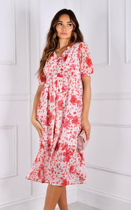 Shana Puff Sleeve Floaty Printed Midi Dress