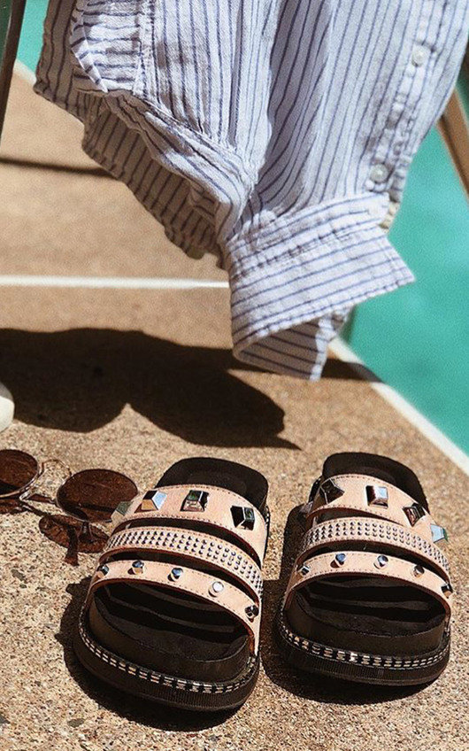 Shani Studded Chunky Strappy Sliders