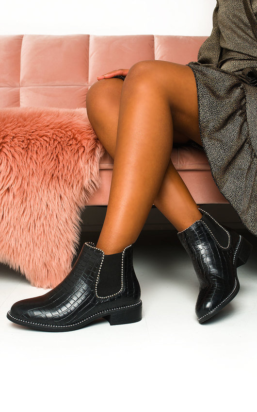 Shannon Croc Print  Ankle Boots