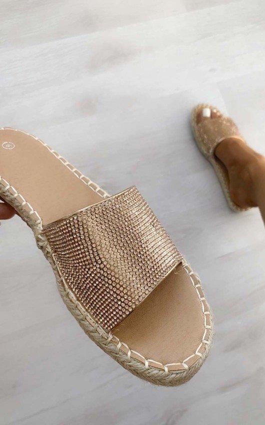 Shannon Diamante Slip On Sandals