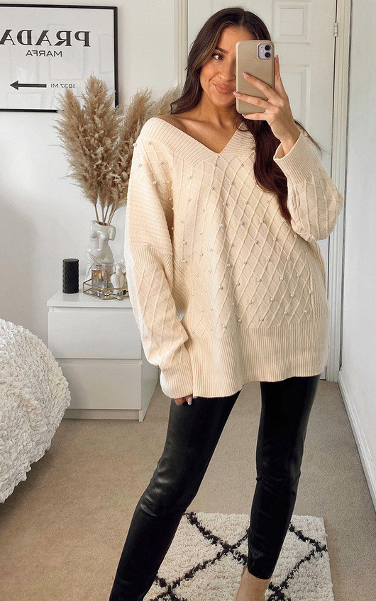Shannon Oversized Knitted Jumper with Pearl Detail