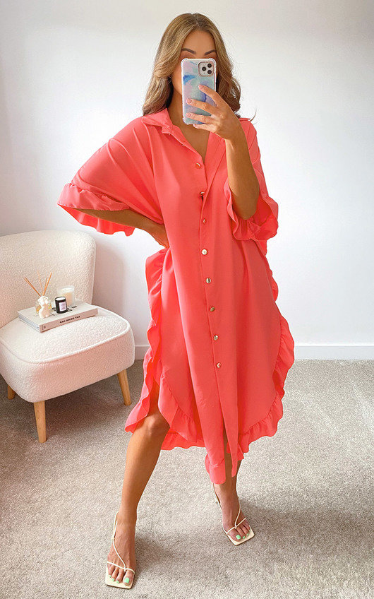 Shaya Ruffled Maxi Shirt Dress