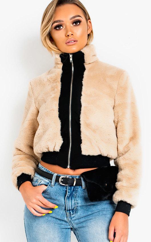 94352fb15d2 Shelby Faux Fur Bomber Jacket in Beige