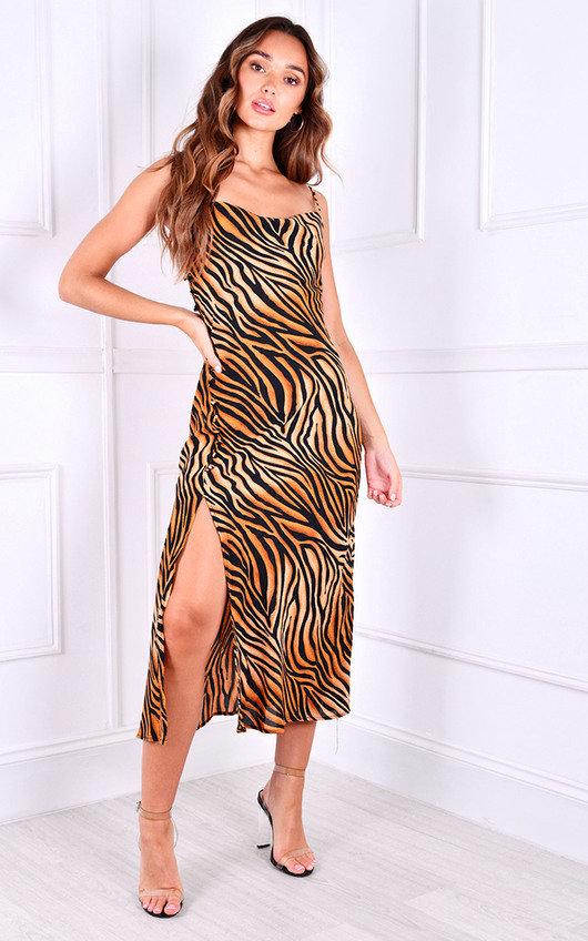 Shermanie Thigh Split Printed Midi Dress