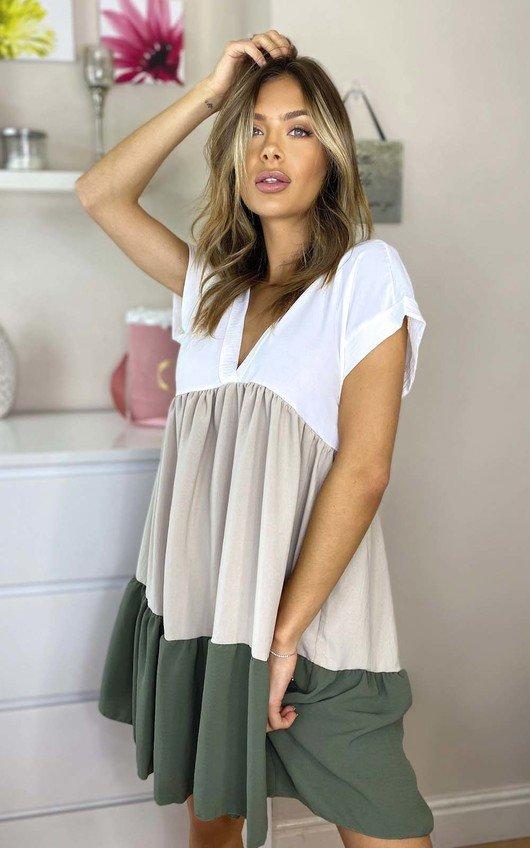 Sia Colour Block Layered Shift Dress