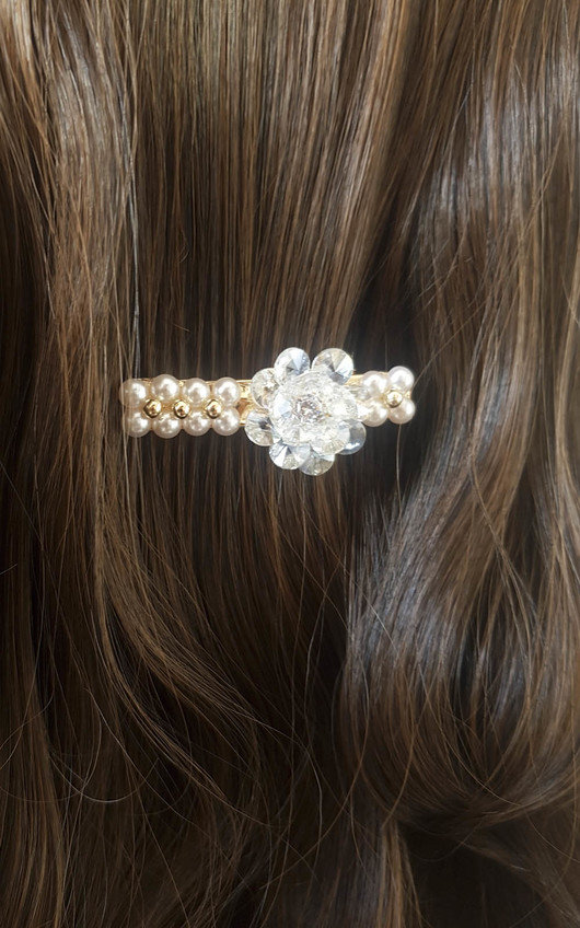 Sia Flower Pearl & Jewel Hair Clip