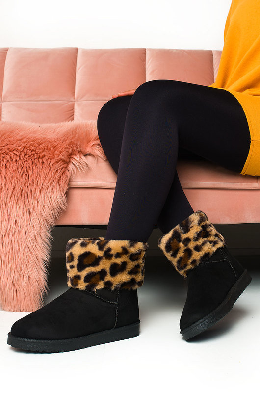 Sia Fluffy Leopard Print Ankle Boots