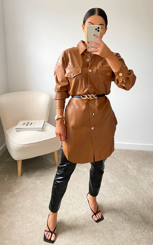 Sienna Faux Leather Shirt Jacket