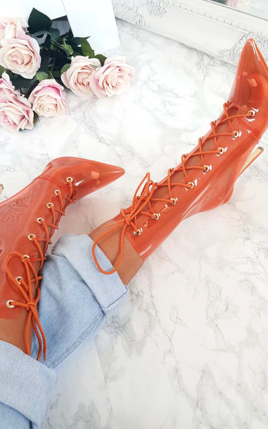 Sigrid Perspex Lace Up Heeled Boots